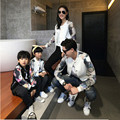 2016 Autumn Winter Family Matching Outfits Mom/Dad/Children Peacock Sleeve Patchwork Baseball Jacket  Family Look Clothing