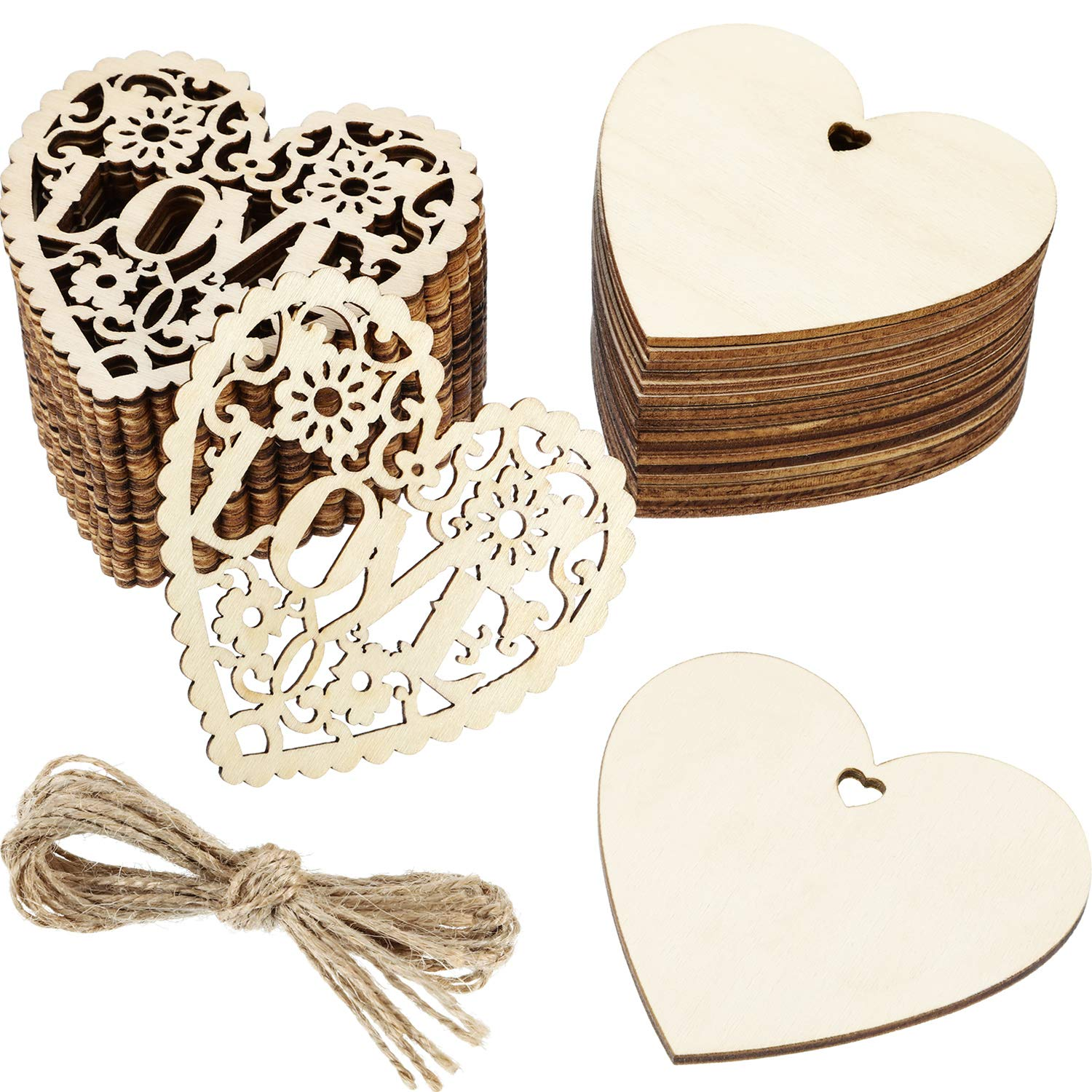 Wooden Hearts Shape Craft Hanging Tag Decoration Gift  Laser Cut With Hole MG000007 10pcs. 10cm