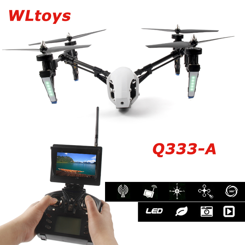 Oyuncaklar ve Hobi Ürünleri'ten RC Helikopterler'de Wltoys Q333 A Q333A 5.8G 4CH Trafo Bir Anahtar dönüş ve Başsız Modu rc dört pervaneli helikopter ile 720P HD FPV Kamera HD Monitör RTF'da  Grup 1