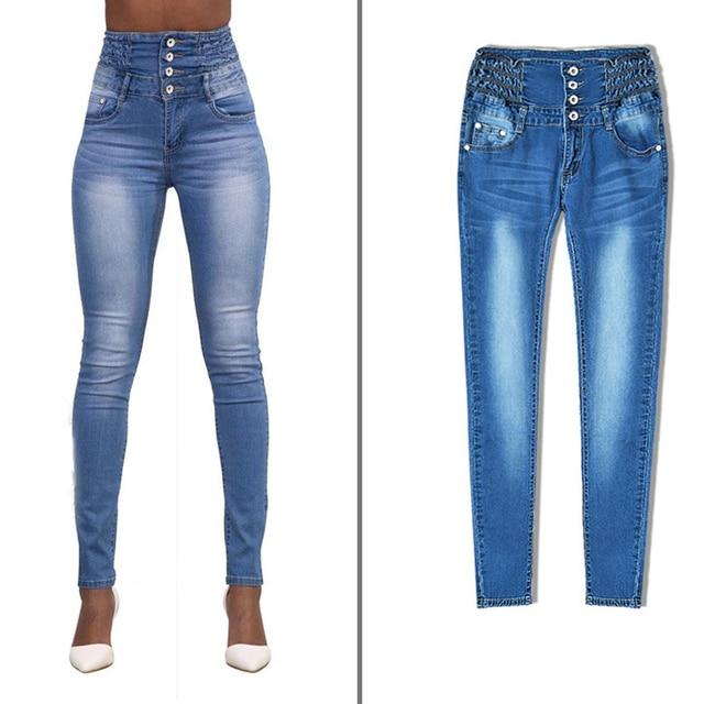 High Waist Jeans Double Breasted Skinny Jeans Woman Elastic Waist Boyfriend Women Pencil Jeans Pant Plus Size Jean Femme