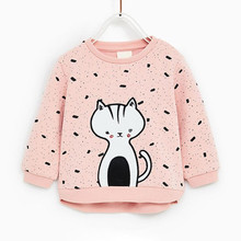 2019 New Arrival Baby Girls Sweatshirts Spring Autumn Child Cats Long Sleeves Sweater Kids T-shirt Clothes Tops For 2-7Y