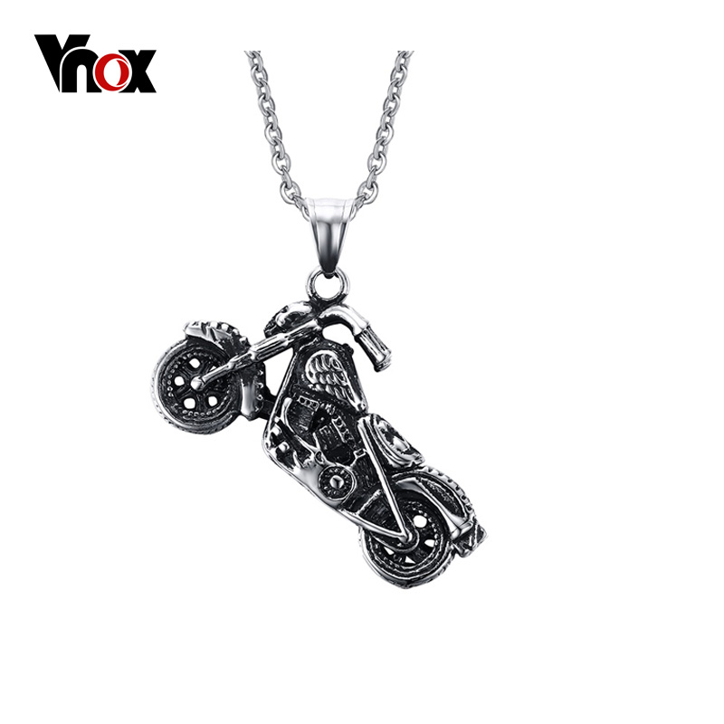 Vnox Men's Ghost Rider Rock Punk Necklaces Pendants Fashion Stainless Steel Motorcycle Necklace Men Vnox Jewelry fashion punk rock stainless steel eagle pendant live to ride necklace for men biker hero motorcycle titanium jewelry