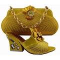 2016 Новый Итальянский Стиль Горный Хрусталь Обувь С Сумками Набор Африканских женская Обувь На Высоких Каблуках И Сумки Для Партии Бесплатная Доставка GF51
