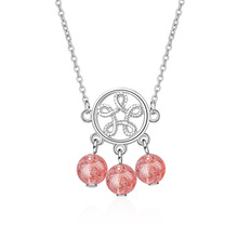Trendy Pink Strawberry Quartz Flower 925 Sterling Silver Female Pendant Necklace Wholesale Jewelry No Fade For Women Short Chain
