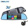 2016 nuevo 3G WCDMA wireless Android GPS Navi del coche de la cámara DVR bluetooth WIFI FM de doble cámara retrovisor cámaras de tablero del coche grabadora de vídeo dvr