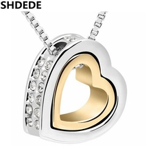 SHDEDE Austria Crystal Double Heart Pendant Necklace Fashion Vintage Jewelry Accessories For Women 10476(China)