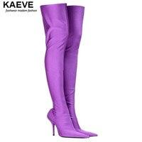Top Purple Boots Ladies Knee High Gladiator Heels Women Combat Boots Stretch Long Bottes Sexy Women