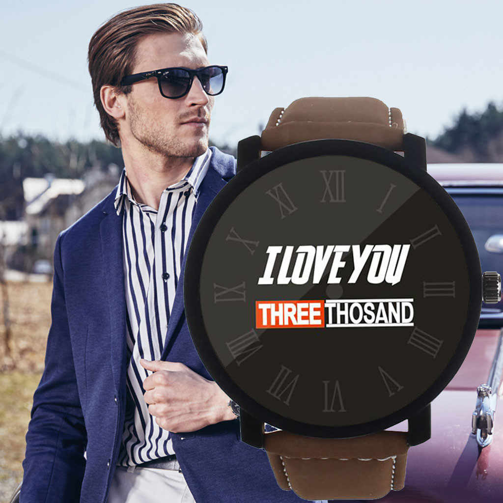 I LOVE YOU Three Thousand Fashion Watches Men erkek kol saati Quartz Wristwatches Relogio Masculino Simple Leather Band Watch