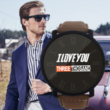 I LOVE YOU Three Thousand Fashion Watches Men erkek kol saati Quartz Wristwatches Relogio Masculino Simple Leather Band Watch(China)