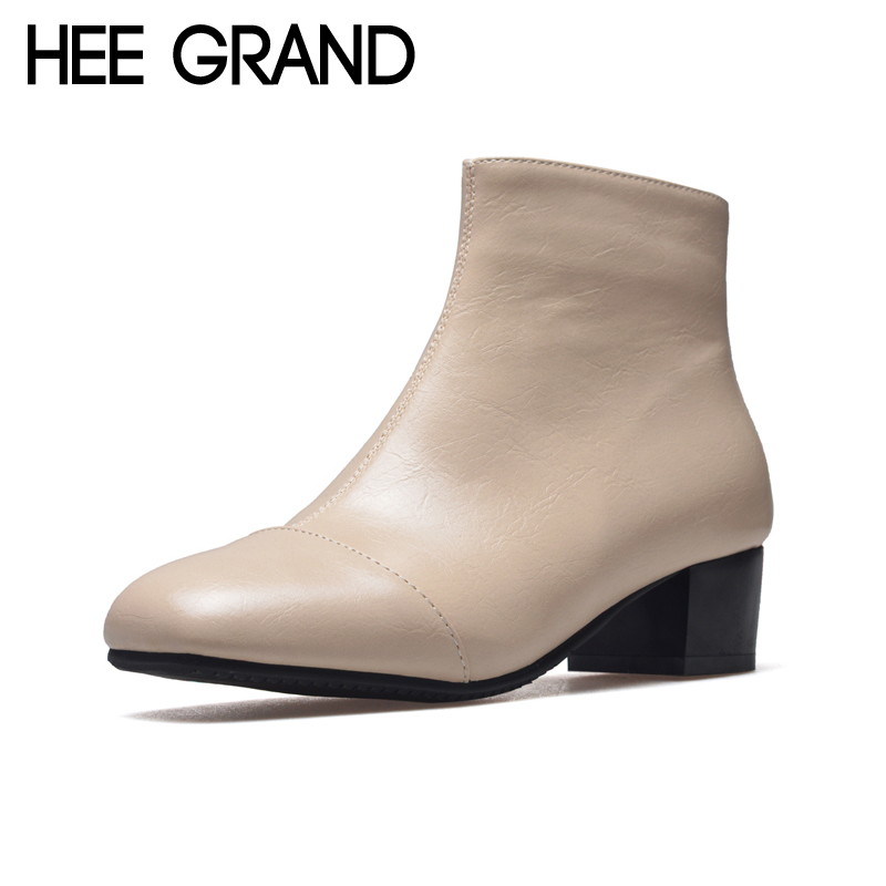 HEE GRAND Square Toe Platform Women Sexy Boots 2017 Winter Creepers Fashion Ankle Boots Casual Shoes Woman Zip Flats XWX6222 hee grand casual women s sandals 2017 silver creepers platform summer shoes woman flats pink casual women shoes xwz3886