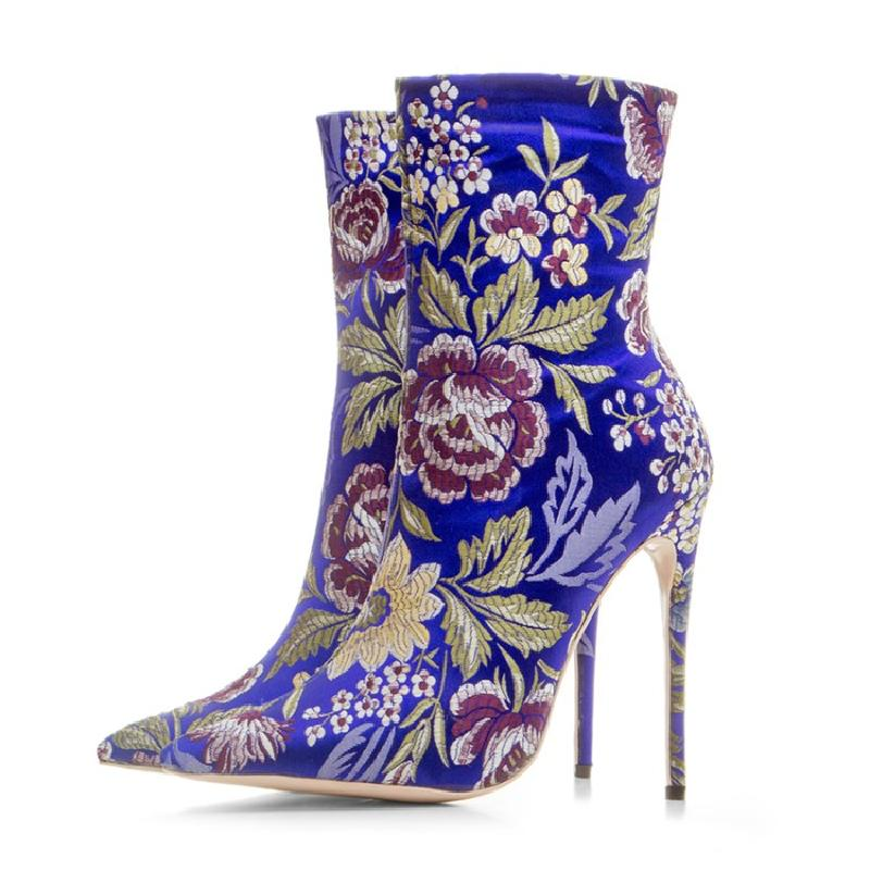 Booties High Picture Embroide Boot Schuhe As Spitz Heels Floral Stretch Sexy as Picture on Stiefeletten Stiletto Socke Beertola Frauen Slip nzWHvOv