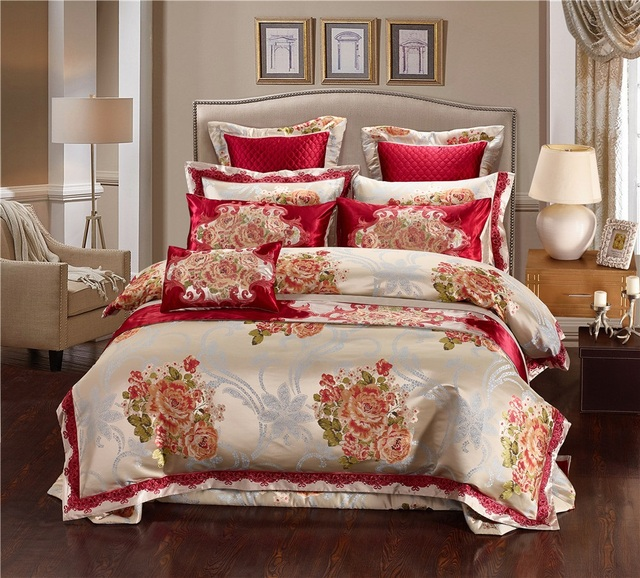 Silk Jacquard Luxury Wedding Bedding Set Queen King Double Size Duvet Cover Oriental Bed Spread