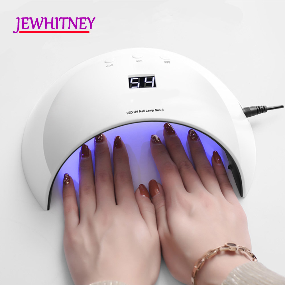 24W UV LED Nail Lamp Nail Curing Gel Nail Dryer For All Gels Polish Automatic Sensor Two Hand Lamp LCD display Light USB Cable