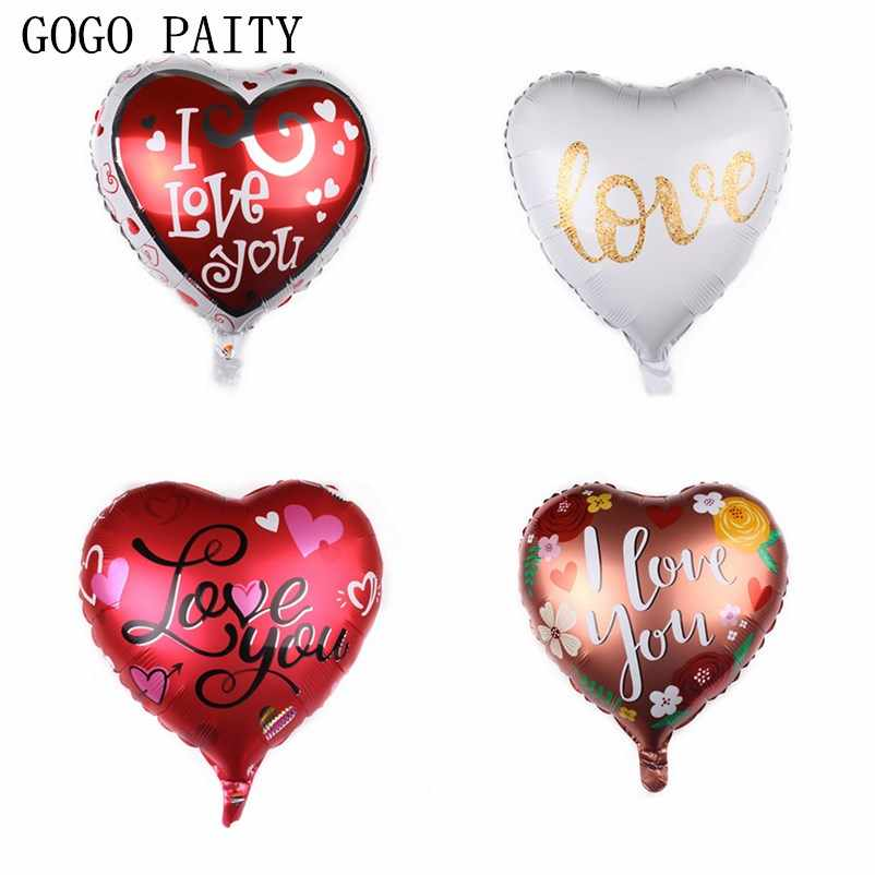 GOGO PAITY New 18 inch heart shape I love you aluminum balloon wedding party valentines day white balloon high quality