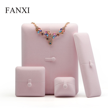 FANXI  Pink Velvet Jewelry Gift Box Ring Pendant Necklace Bangle Long Chain Display Storage Box Packaging Wedding Party Showcase large leather gift box for jewellery wedding party decoration display velvet organizer earing necklace ring packaging pink box