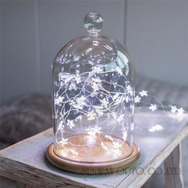 3.3 м 30led Star Медный провод строка фонари светодиодные гирлянды Рождество Свадебные украшения огни Батарея работать гирляндой