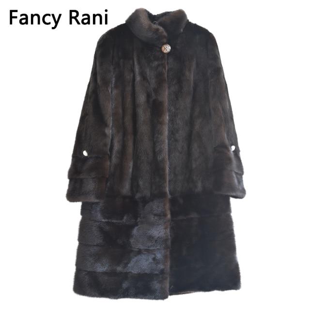 Real Fur New Style Ladies' Fashion Mink Coats Genuine Leather Mink Fur Mandarin Collar Mink Fur Coat From Full Pelt Natural Fur