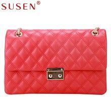 SUSEN 2291 High Quality Women chain Messenger shoulder&Crossbody Bag Luxury top PU Leather diamond lattice girls gift versatile