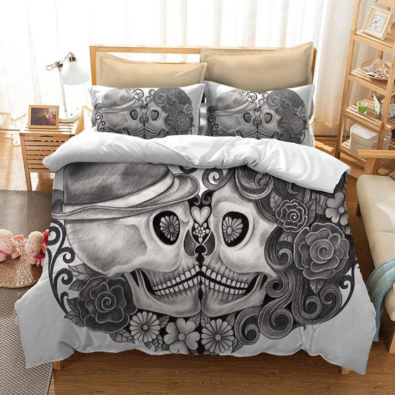 Fanaijia cranio Bedding Set per Letto King Size Stile Dell'europa 3D del cranio dello zucchero copripiumino con federa AU Letto Matrimoniale bedline