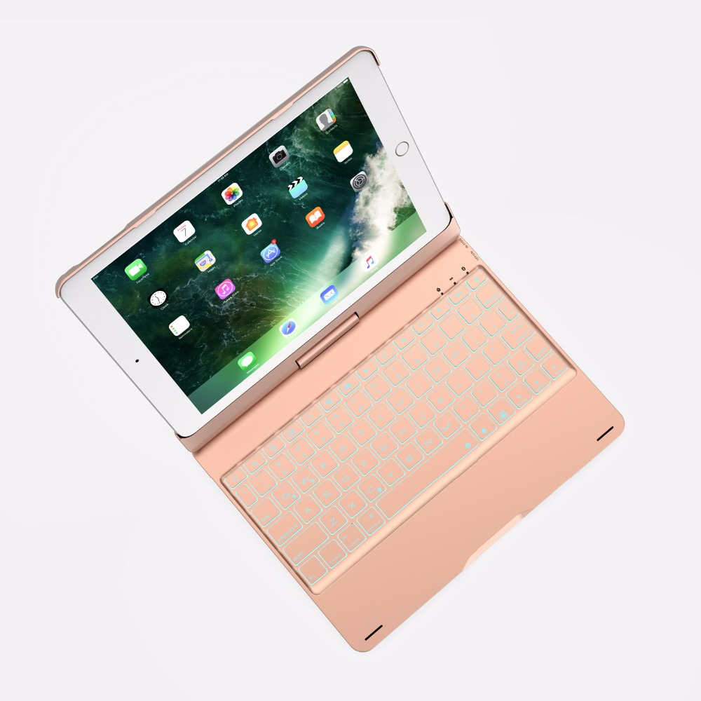 360 Degree Rotable Aluminum 7 Color BackLight Bluetooth Keyboard Case Cover for Apple New iPad 9.7 2017 2018 iPad Air 1 2  5 6 -6