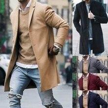 Новое поступление, Зимние Модные Мужские приталенные кардиганы с длинным рукавом, пальто, куртка, костюм, однотонные мужские длинные шерстяные пальто