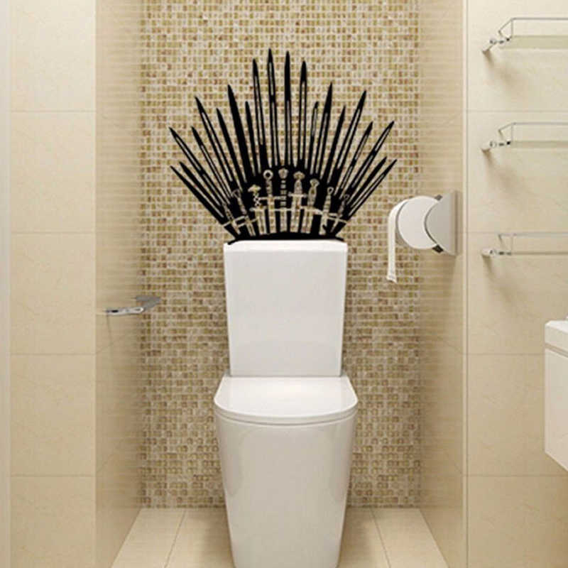 Sales New Iron Throne Funny Toilet Wall Sticker Game Of Thrones Stickers For Bathroom Decoration Wall Stickers Decal