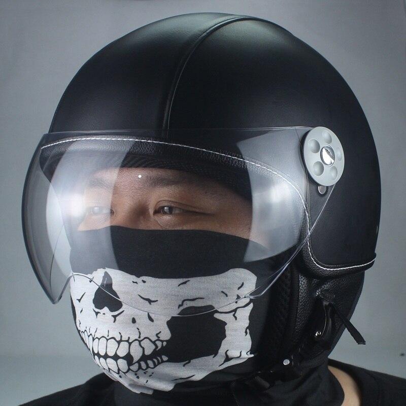VOSS cuir Vintage Motocross Motocross Feminino Moto casques Casque Capacete Casco équitation Moto Casque ouvert clair caméras