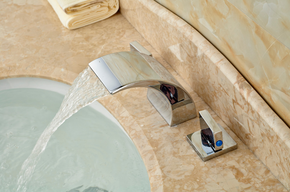 Roman Style Chrome Brass Waterfall Faucet Bathroom Vanity Sink Mixer Tap 2 Lever декор lord vanity quinta mirabilia grigio 20x56