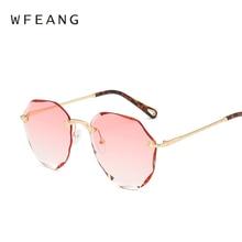 WFEANG Gradient Rimless Sunglasses Women Oversized Eyewear New Fashion Sun Glasses Female Summer Travel Essential UV400