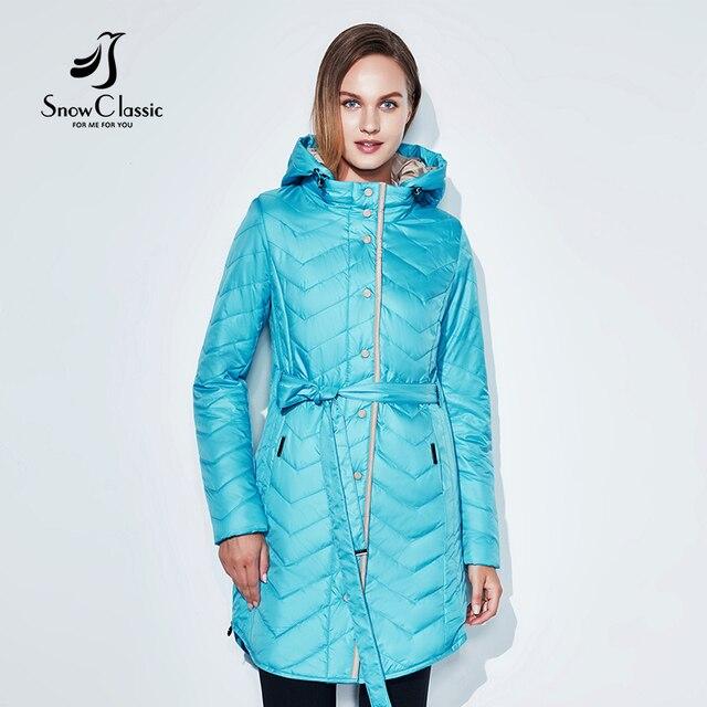 2018 SnowClassic Весна Лето Пальто Ветровка Дышащая Тонкая хлопчатобумажная европейская мода с капюшоном Zip Belt Jacket