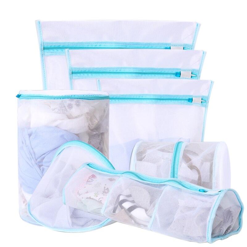 Yolala 7pcs Blue Pink Violet Underwear Lingerie Bras Laundry Bags Baskets Socks Machine Mesh Laundry Bag Household