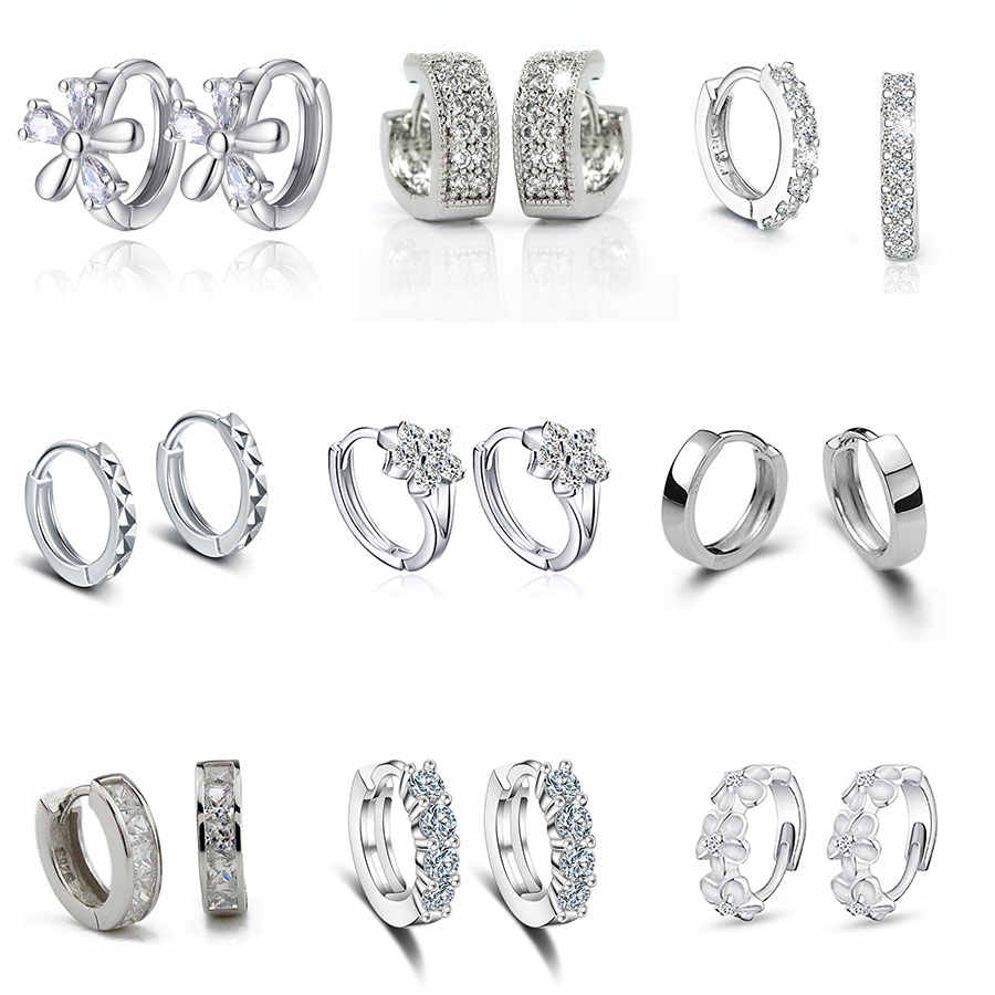 Luxury New 2019 Stud Earrings 925 Sterling Crystal Zircon Row Silver Huggie Earrings For Women Female Brincos oorbellen