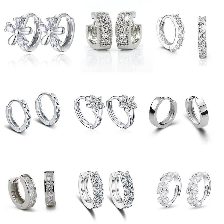 Luxury New 2019 Stud Earrings 925 Sterling Crystal Zircon Row Silver Huggie Earrings For Women Female Brincos Oorbellen