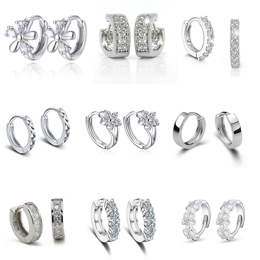 Luxury New 2019 Stud Earrings Crystal Zircon Row Silver Color Huggie Earrings For Women Female Brincos Oorbellen
