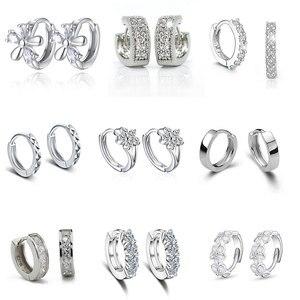 Luxury New 2020 Stud Earrings Crystal Zircon Row Silver Color Huggie Earrings For Women Female Brincos oorbellen