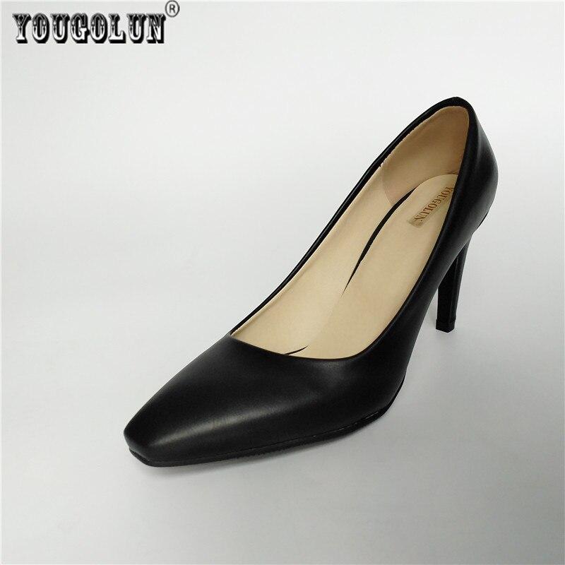 YOUGOLUN woman fashion square toe Thin high heels pumps women black apricot work shoes ladies womens elegant women's party Pumps