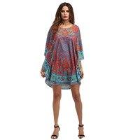 Summer Dashiki Beach Dress Women Fashion African Floral Print Batwing Sleeve Short Casual Loose Dresses