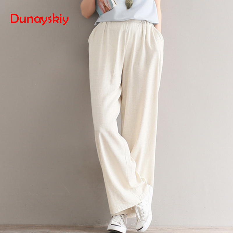 Comfort Cotton Linen   Pants   Women 2019 Fashion Spring Autumn Ethnic Long Trousers Female Casual Loose   Wide     Leg     Pants   Solid Color