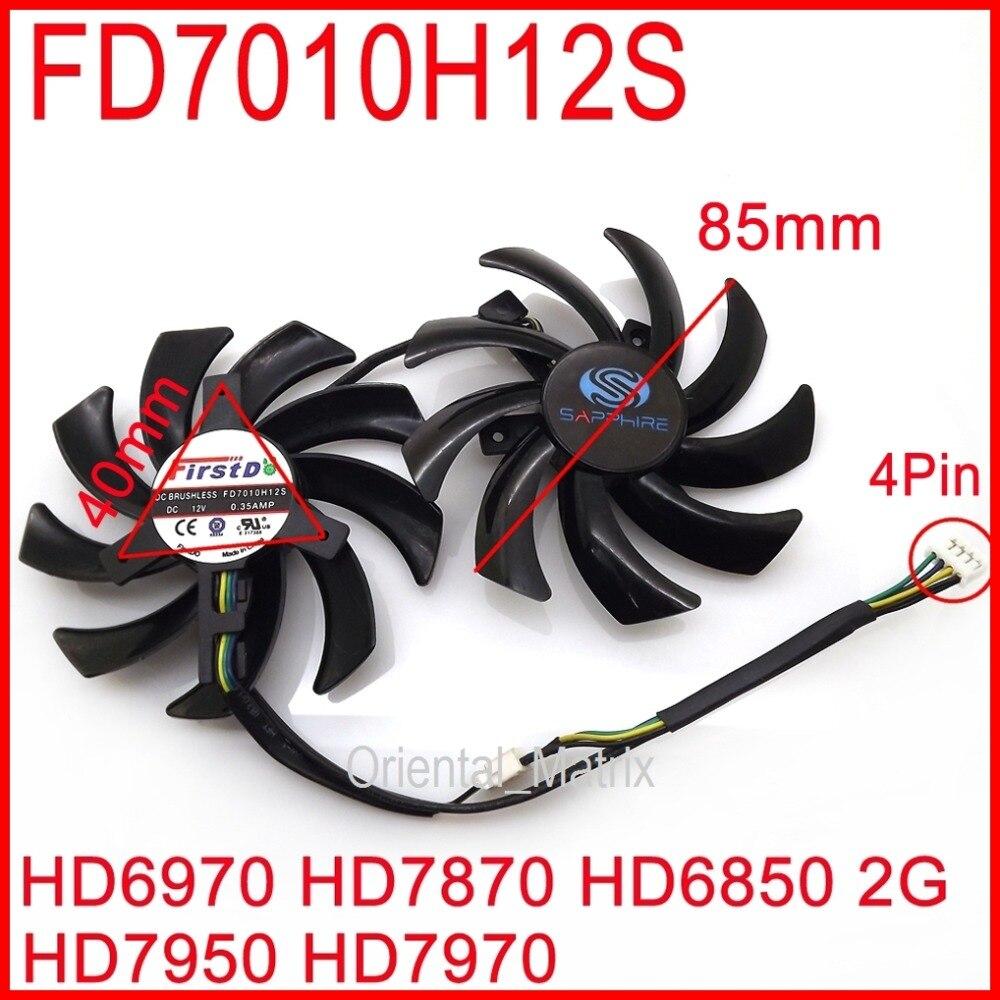 Envío gratis 2 unids/lote FD7010H12S 85mm para zafiro R9 270X 280X HD6970 HD7870 HD7950 HD7970 tarjeta gráfica ventilador de refrigeración