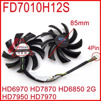Free Shipping 2pcs/lot FD7010H12S 85mm For Sapphire R9 270X 280X HD6970 HD7870 HD7950 HD7970 Graphics Card Cooling Fan image