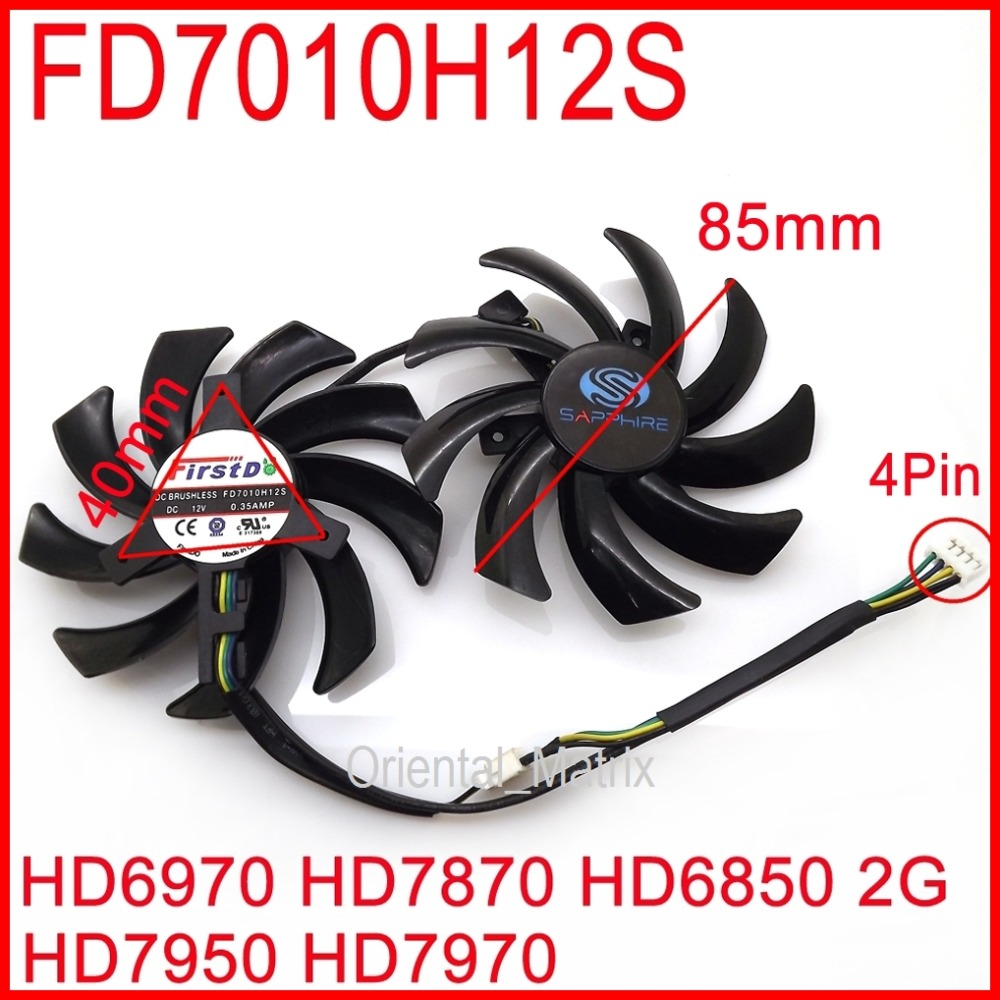 Free Shipping 2pcs/lot FD7010H12S 85mm For Sapphire R9 270X 280X HD6970 HD7870 HD7950 HD7970 Graphics Card Cooling Fan