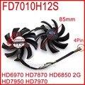 Free Shipping 2pcs/lot Firstdo FD7010H12S 85mm For Sapphire R9 270X 280X HD6970 HD7870 HD7950 HD7970 Graphics Card Cooling Fan
