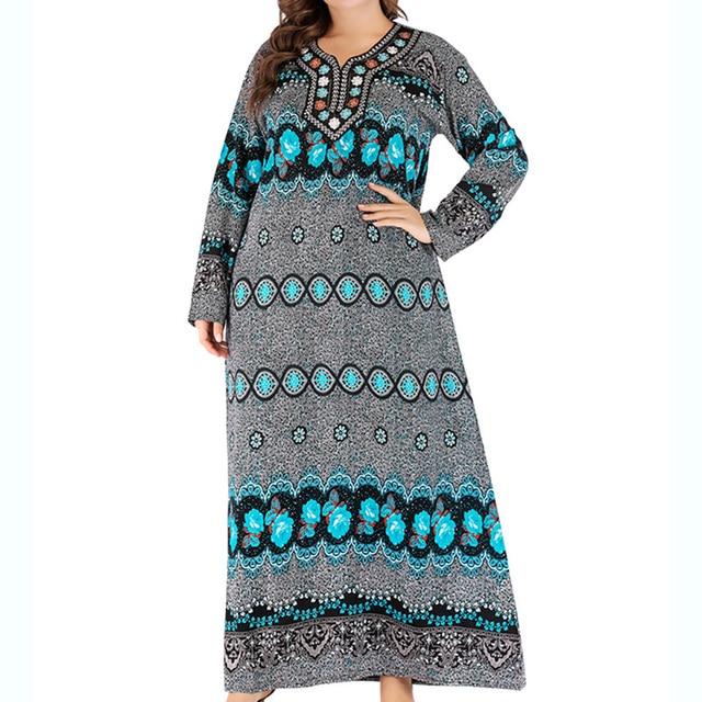 Plus Size Dress Boho Style Big Size Loose Ethnic Dress Women Long Sleeve Casual Print Tunic Summer Boho Maxi Dresses Vestidos