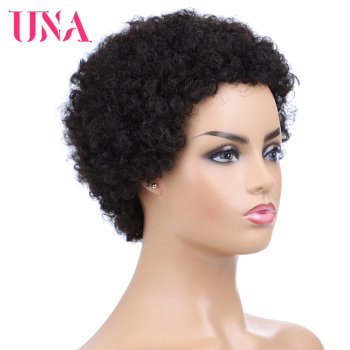 UNA Short Human Hair Wigs Non-Remy Human Hair Wigs 120% Density Peruvian Curl Human Hair Afro Wigs For Full Machine Made Wigs una short malaysia human hair wigs for women sassy curly non remy human hair 120