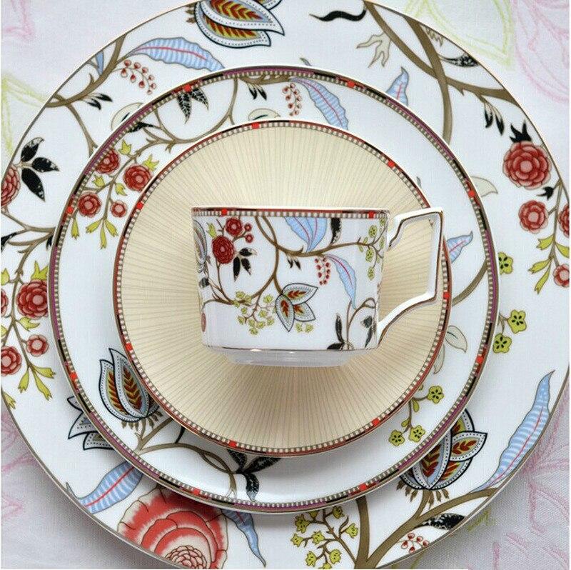 Vaisselle européenne os chine plat occidental Steak assiette après-midi thé Dessert tasse à café et soucoupe