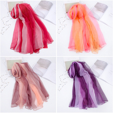 New Gradient Ice Silk Scarf Spring and Summer Ladies Chiffon Color Long Sunscreen Beach Towel Women Scarves Shawls