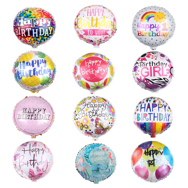 1Pc 18 Inch Birthday Inflatable Ballons Cartoon Happy Foil Balloons Children Toys Helium For Kids Party