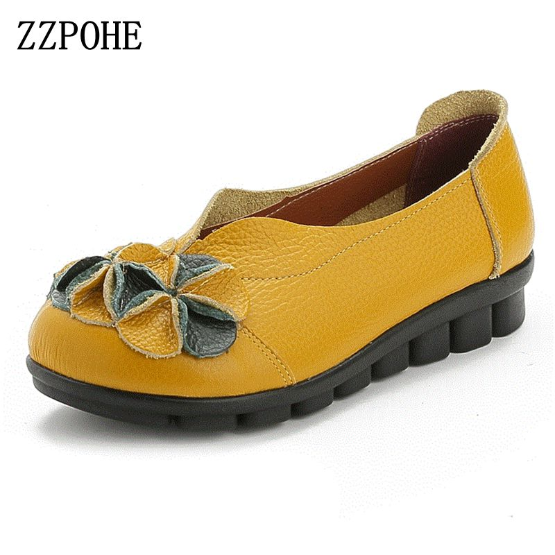 ZZPOHE 2017 Spring Autumn Women Genuine Leather Soft Flats Driving Shoes Woman Casual Comfortable Slip-On Single Shoes Plus Size chilenxas 2017 new spring autumn soft leather breathable comfortable shoes flats men casual fashion solid slip on handmade