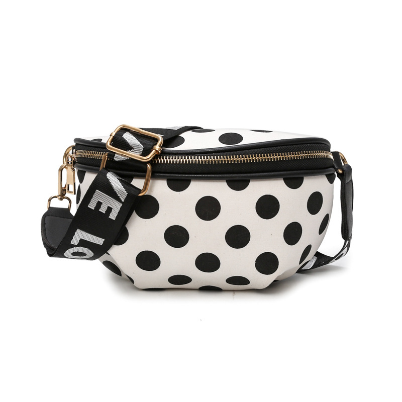 Polka Dot Ladies Pocket Fashion Nylon Pockets Convenient Belt Bag Female Travel Messenger Bag Girls Cute Chest Bag