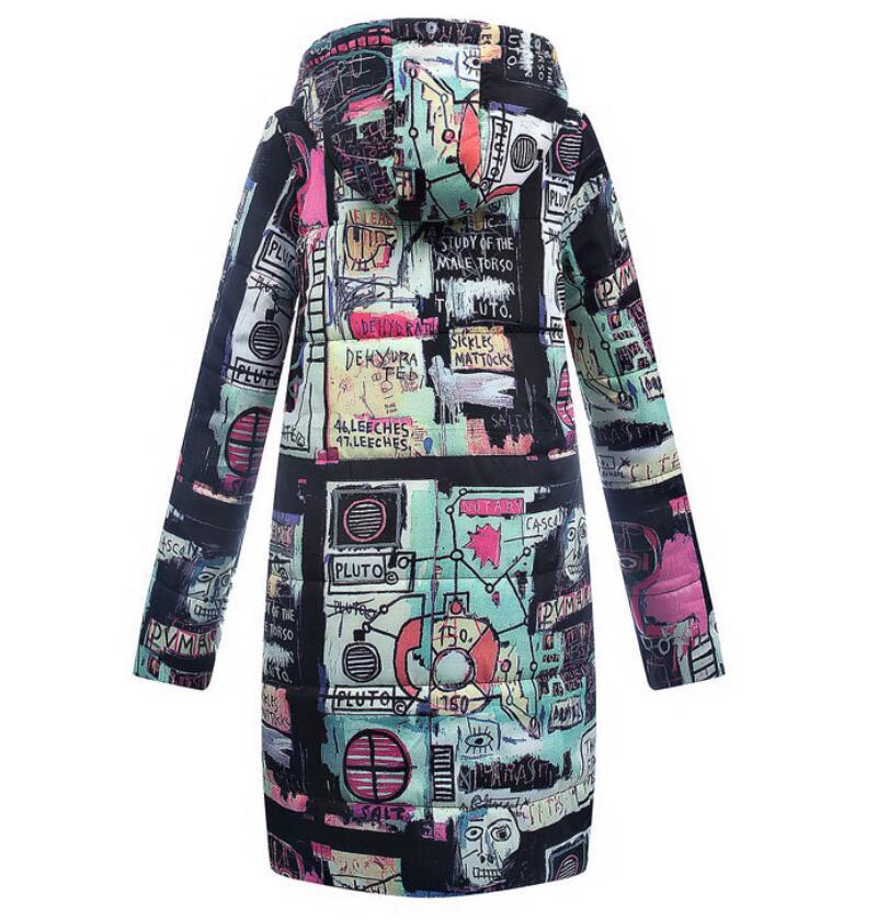Taille As Extérieur Vêtements Vers 2018 Photo Russie Mince Femme En Commerce Imprimé La Manteau Bas Hiver Le Nouveau Grande Coton Longue qqtp40wH